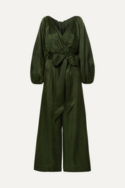 Venus cotton and silk-blend habotai jumpsuit
