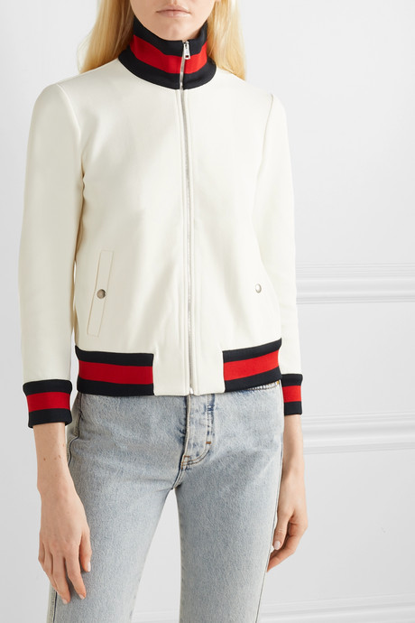 Striped twill bomber jacket