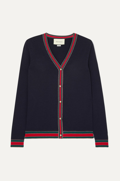 GUCCI | Gucci - Striped Wool Blend-Trimmed Wool Cardigan - Navy | Goxip