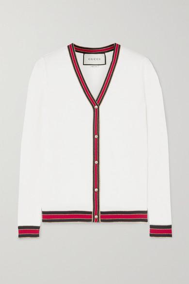 条纹羊毛混纺边饰羊毛开襟衫 by Gucci