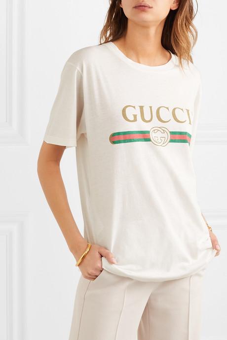 Appliquéd distressed printed cotton-jersey T-shirt
