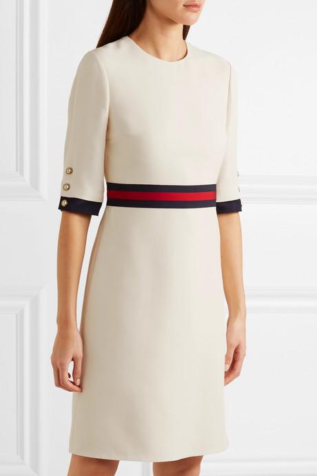 Grosgrain-trimmed wool and silk-blend cady mini dress