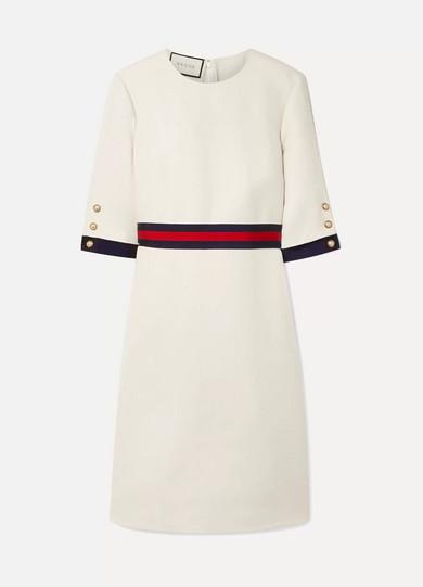 GUCCI | Gucci - Grosgrain-Trimmed Wool And Silk-Blend Cady Mini Dress - Ivory | Goxip