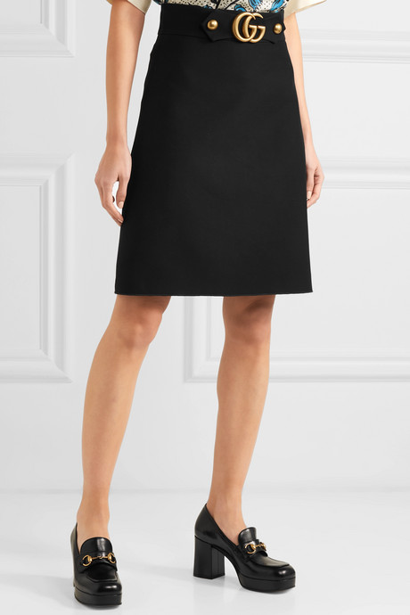 Embellished wool and silk-blend skirt