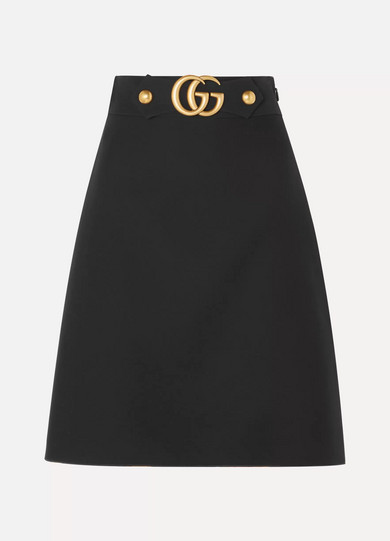 GUCCI | Gucci - Embellished Wool And Silk-Blend Skirt - Black | Goxip