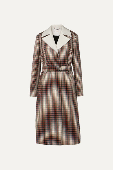 d13a99d798 Belted checked wool-blend coat