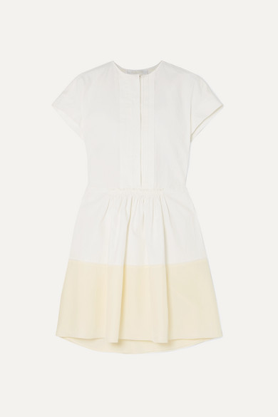 ChloÉ Pintucked Linen And Silk Crepe De Chine Mini Dress In White