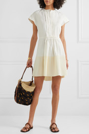 Pintucked linen and silk crepe de chine mini dress