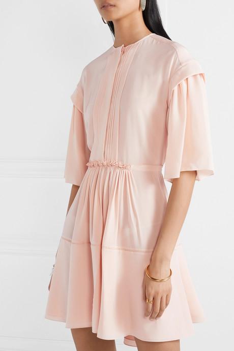 Gathered pleated silk-crepe mini dress