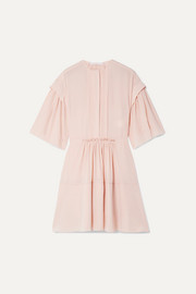 Chloé Gathered pleated silk-crepe mini dress