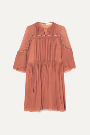 Chloé Embellished gathered silk-crepon mini dress
