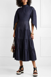 Chloé Tiered denim midi dress