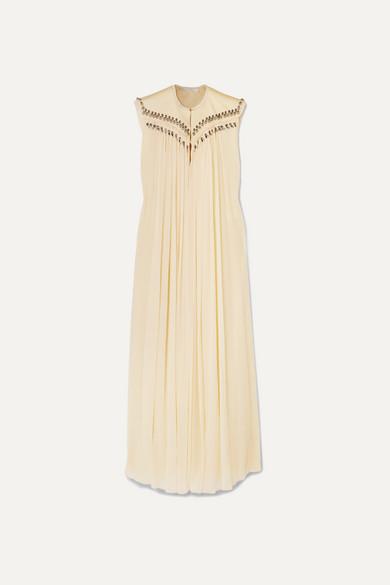 Chloé Dresses Embellished frayed silk-georgette gown