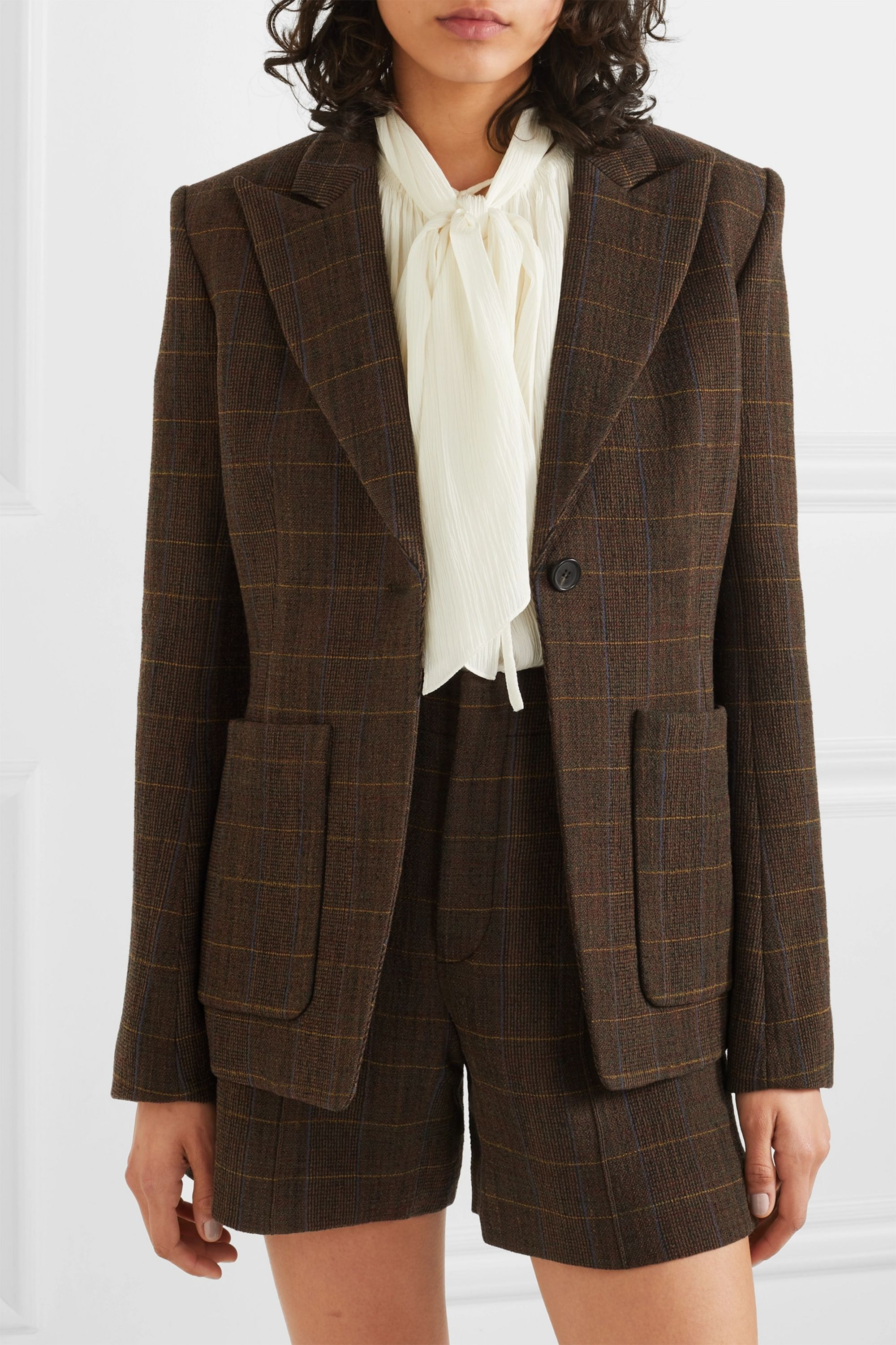 Chloé Checked wool-blend blazer
