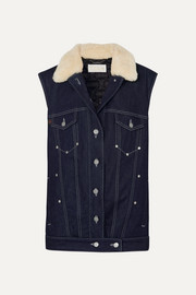 Chloé Shearling-trimmed denim vest