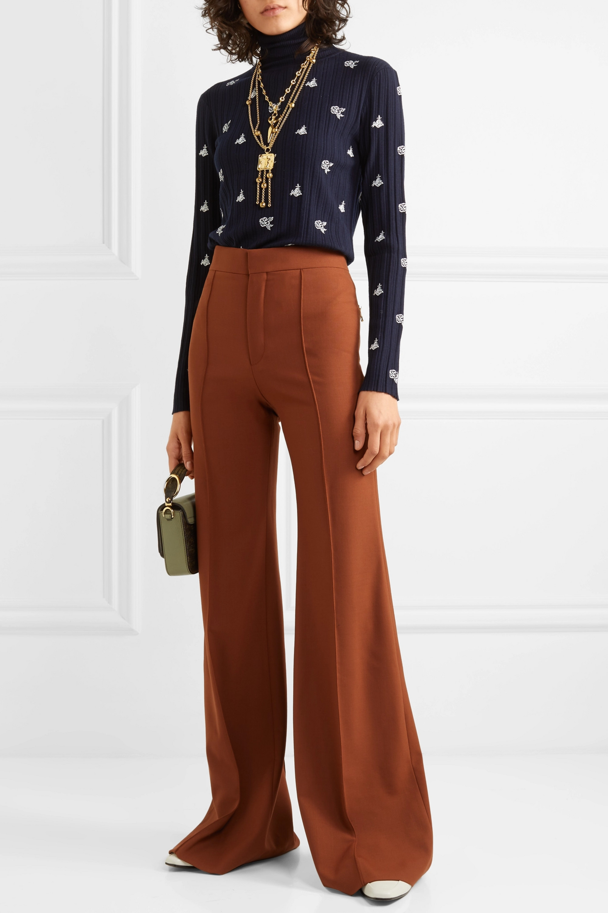 Chloé Embroidered ribbed merino wool turtleneck sweater