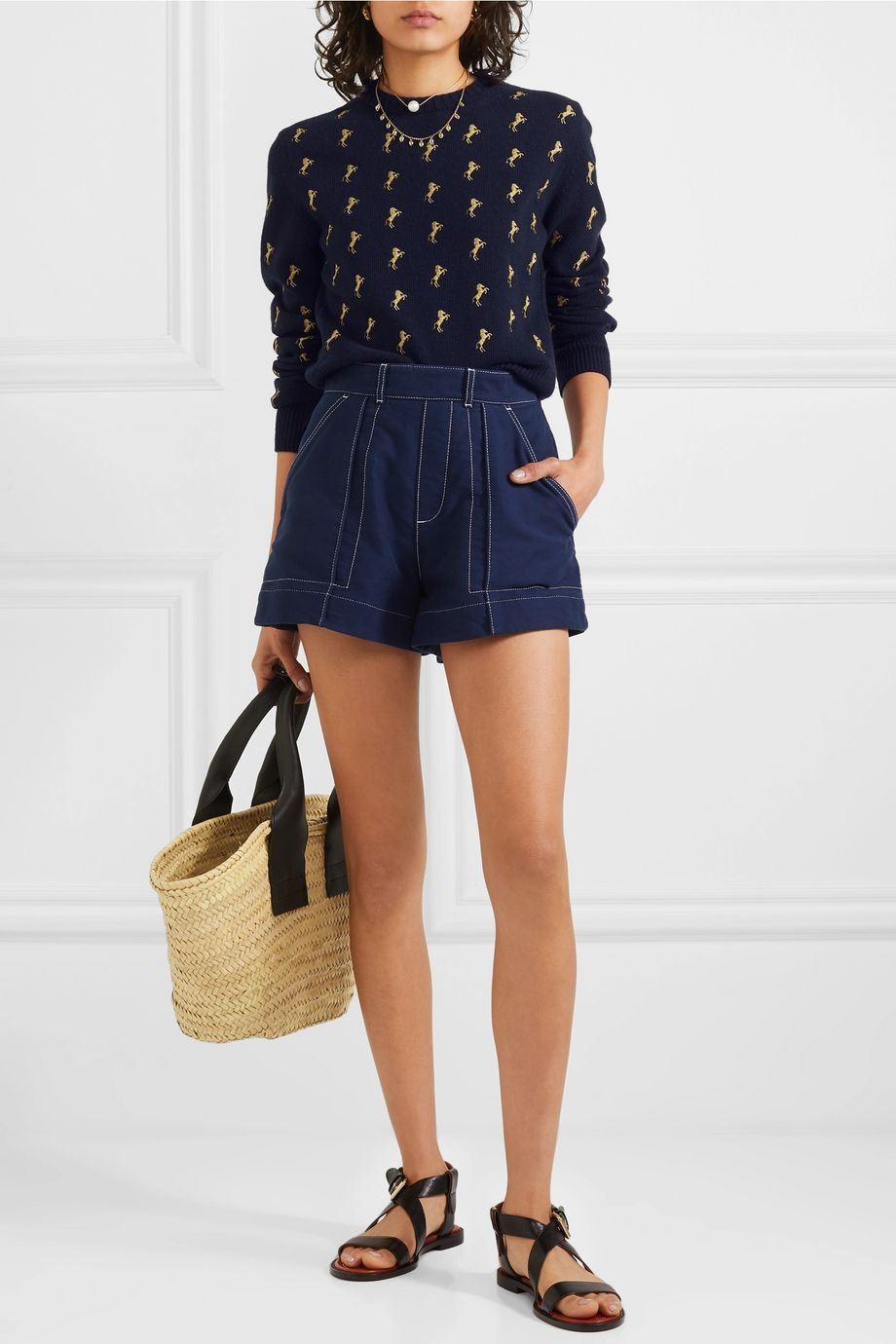 Chloé Embroidered wool-blend sweater