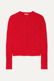 Chloé Cable-knit wool and silk-blend sweater