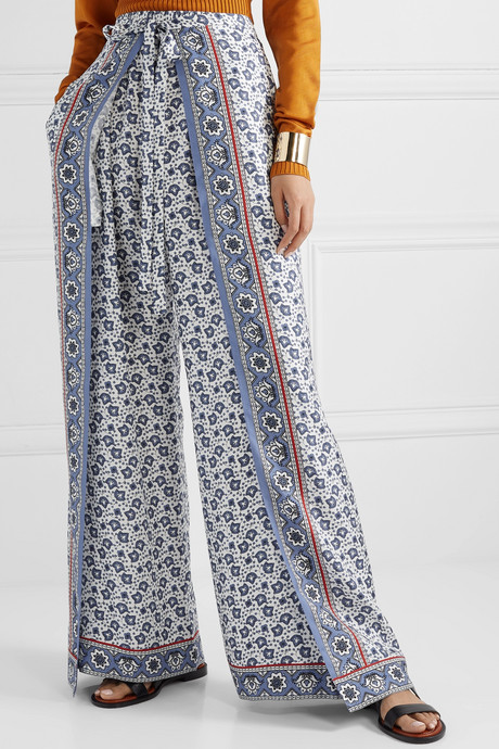 Layered printed silk-twill wide-leg pants
