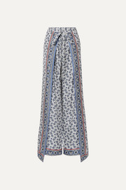 Chloé Layered printed silk-twill wide-leg pants