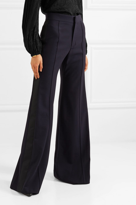 Satin-trimmed stretch-wool wide-leg pants