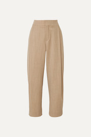 Chloé Cropped pleated wool-blend tapered pants