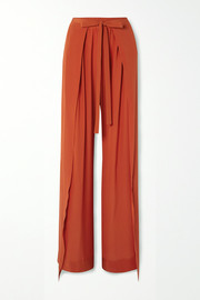 Layered silk-crepe wide-leg pants