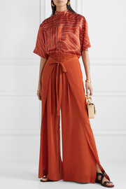 Chloé Layered silk-crepe wide-leg pants