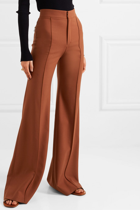 Grain de poudre stretch-wool flared pants