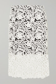 Chloé Crocheted cotton-blend lace skirt