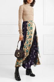 Chloé Asymmetric paneled printed satin-jacquard, velvet, tulle and crepe skirt