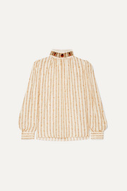 Chloé Embellished printed silk-satin blouse
