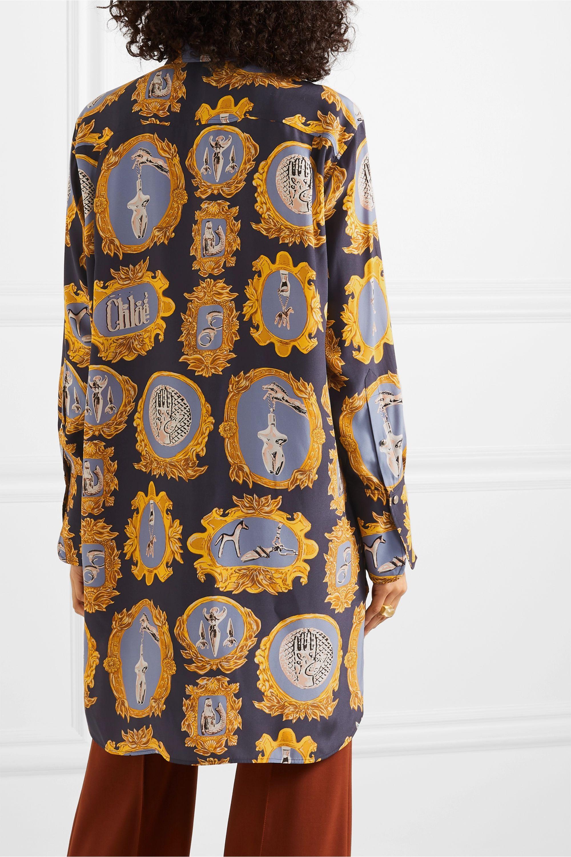 Chloé Oversized printed silk-satin shirt
