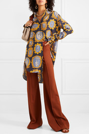Chloé Oversized printed silk-satin shirt