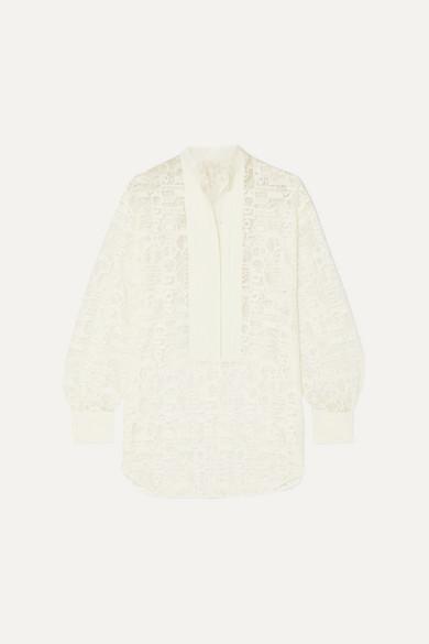e5307f033534a9 Chloé   Pintucked linen-trimmed lace blouse   NET-A-PORTER.COM