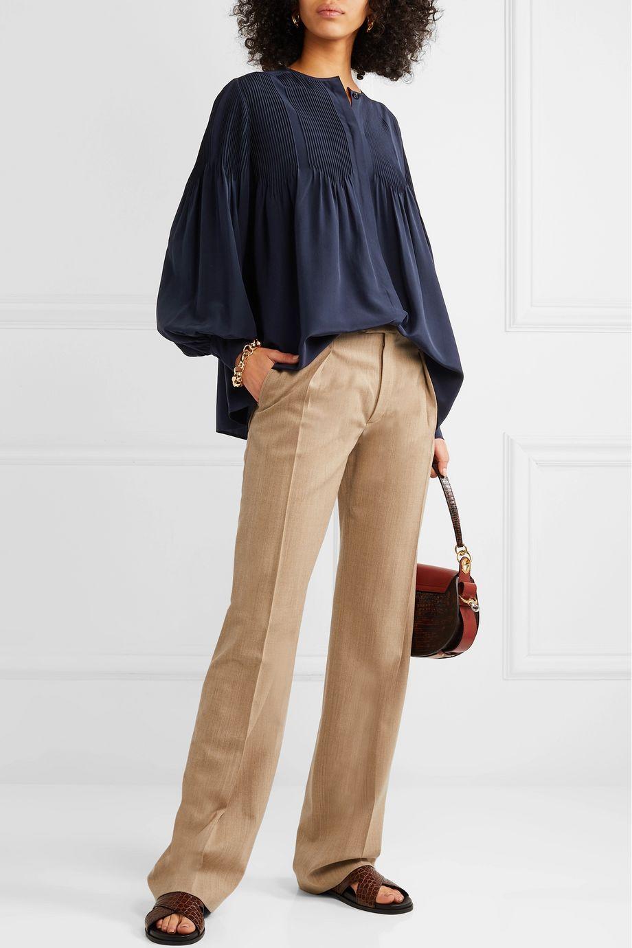 Chloé Pintucked silk blouse