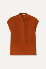 Pintucked silk-crepe blouse