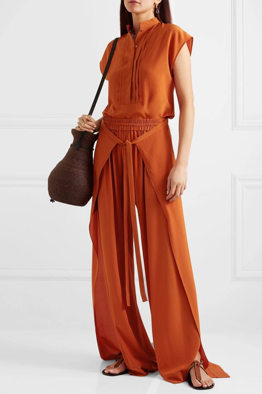 Chloé Pintucked silk-crepe blouse