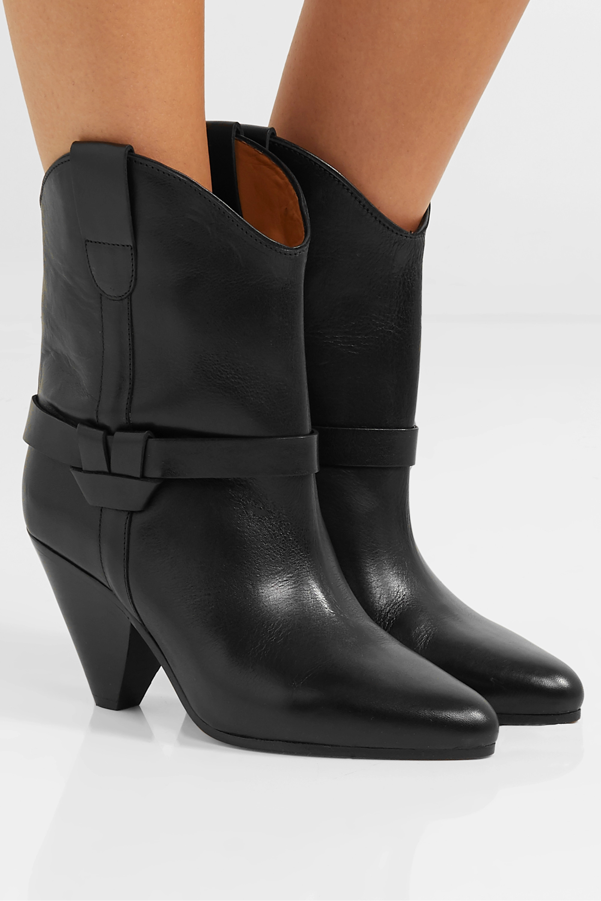 Black Deane leather ankle boots