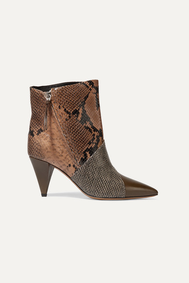 Latts Paneled Snake Effect Leather Ankle Boots by Isabel Marant