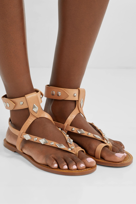 Tan Enga studded leather sandals