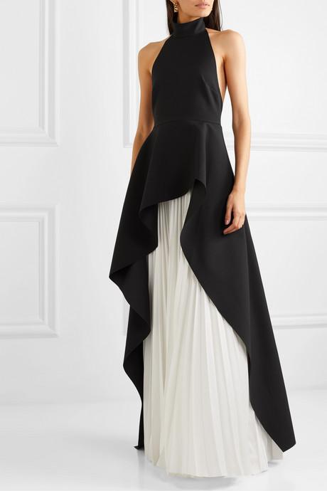 Lavinia ruffled crepe and pleated cady maxi dress
