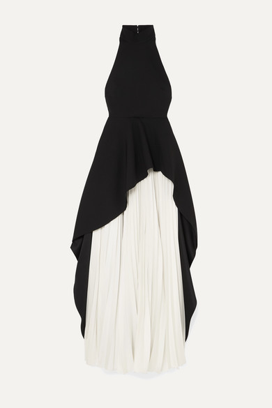 Lavinia Ruffled Crepe And Pleated Cady Maxi Dress by Solace London