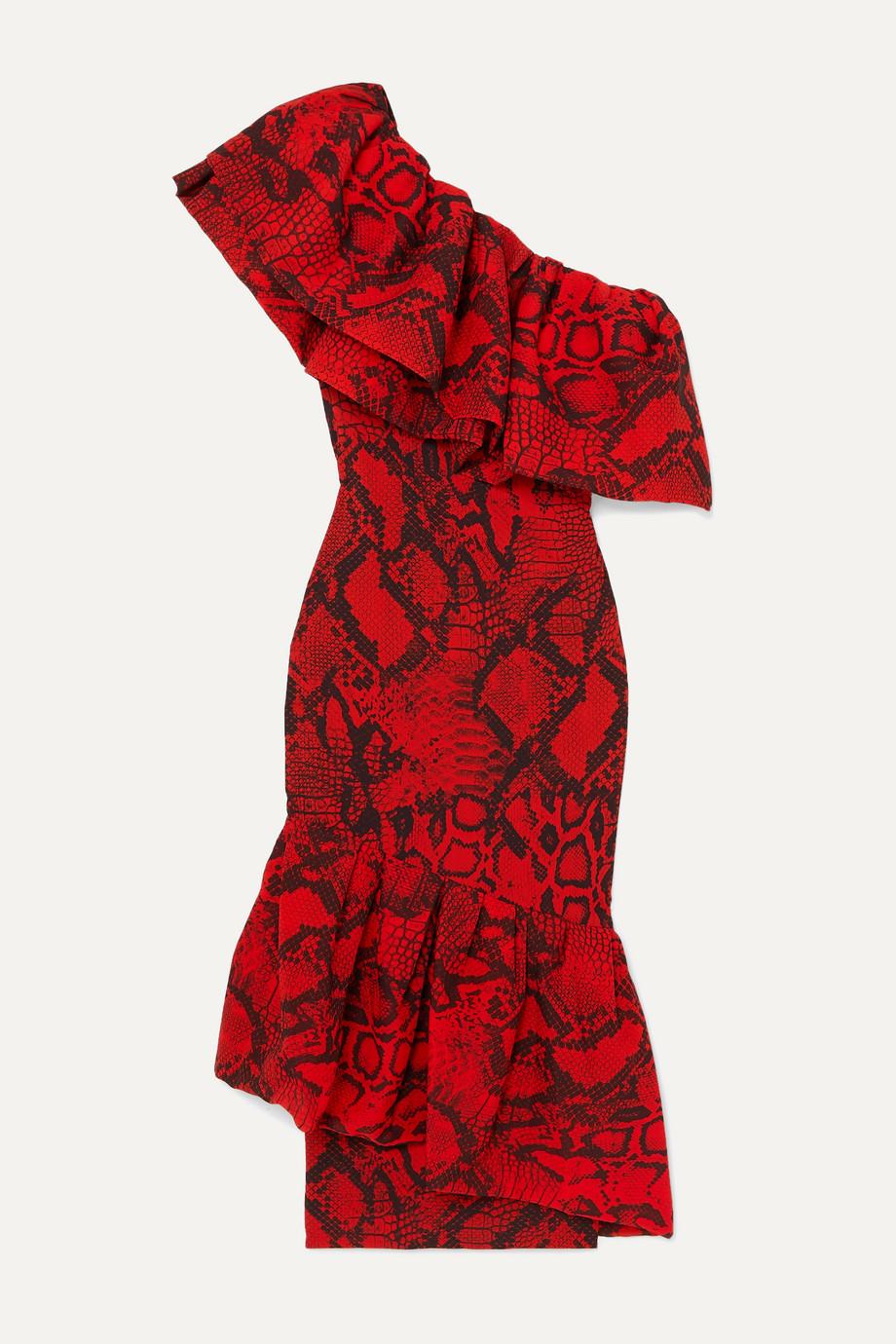 Solace London   Heppy one-shoulder ruffled snake-print crepe midi dress    NET-A-PORTER.COM