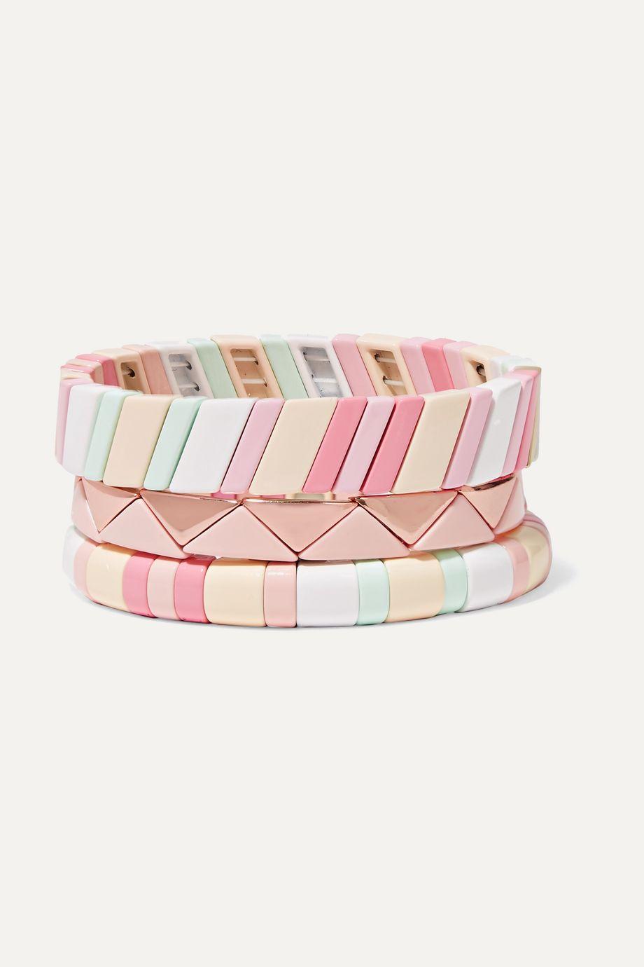록산느 애슐린 팔찌 Roxanne Assoulin Bahamas set of three enamel bracelets,Pink