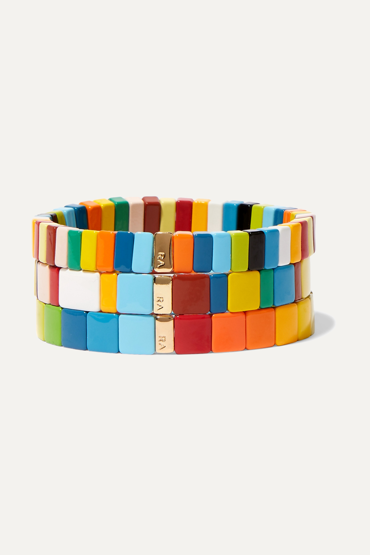 Roxanne Assoulin Set de trois bracelets en émail Rainbow Brite
