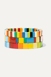 Roxanne Assoulin Rainbow Brite set of three enamel bracelets