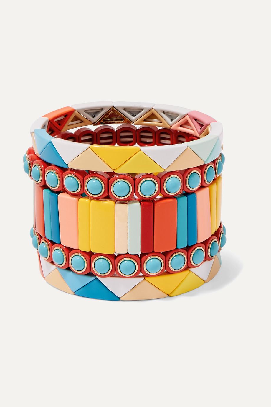 Roxanne Assoulin Cinque Terre Set aus fünf Armbändern mit Emaille