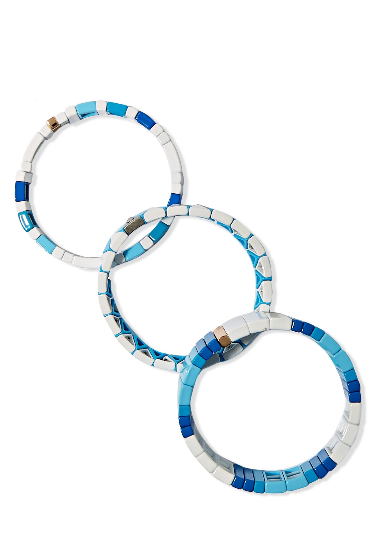 Roxanne Assoulin Mykonos Set aus drei Armbändern mit Emaille