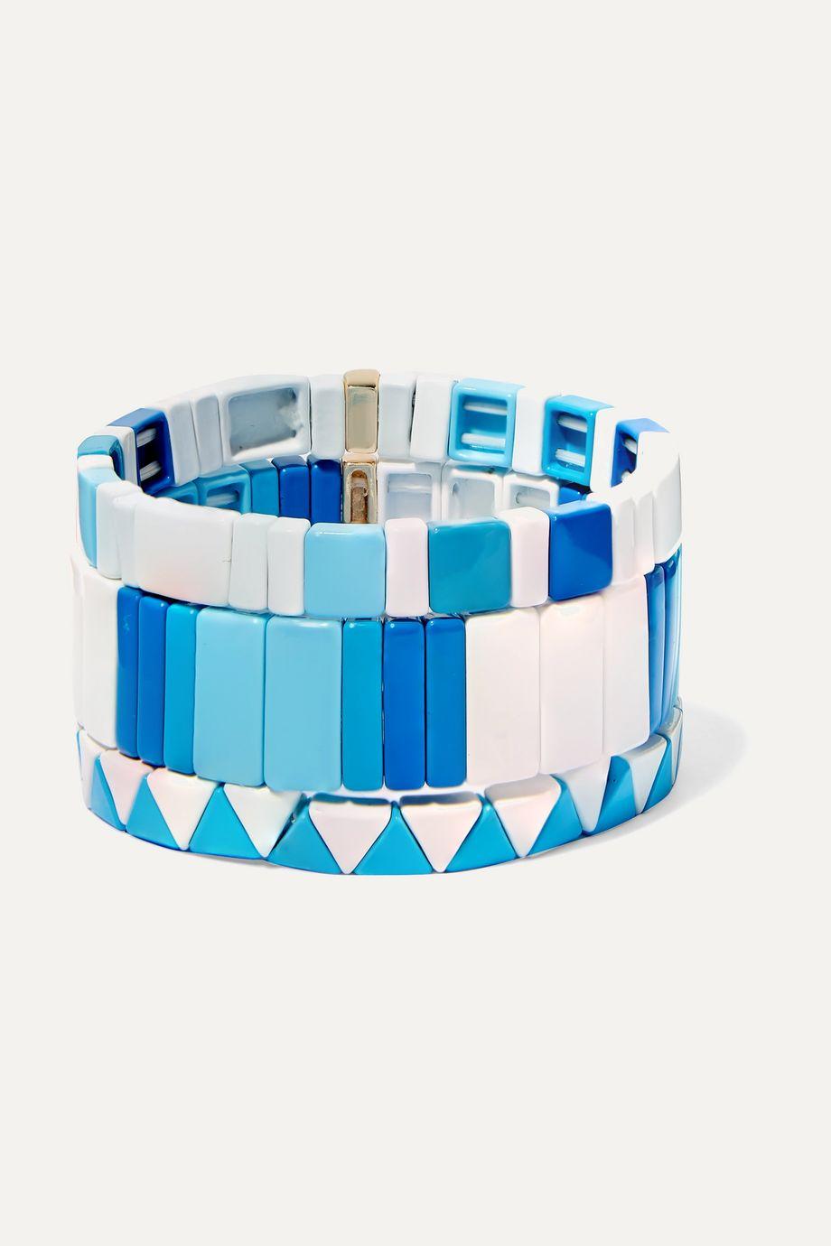 록산느 애슐린 팔찌 Roxanne Assoulin Mykonos set of three enamel bracelets,Blue